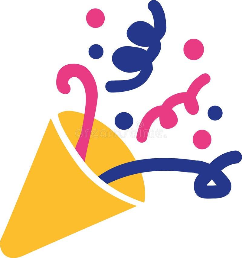 Confetti символа рожка партии иллюстрация штока