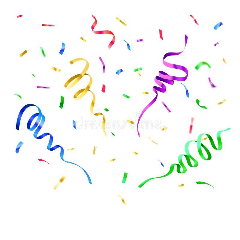 Confetti цветов бумажный Оформление партии сюрприза дня рождения, лента летания масленицы и бумаги рождества праздничные падая иллюстрация штока