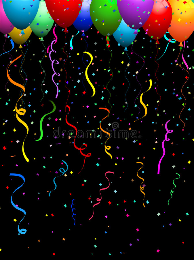 Confetti And Balloons Stock Photography