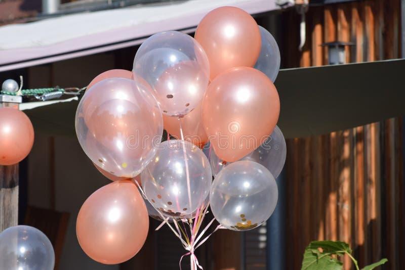Confetti balloons at a Partylocation. Many Confetti balloons at a Partylocation stock image