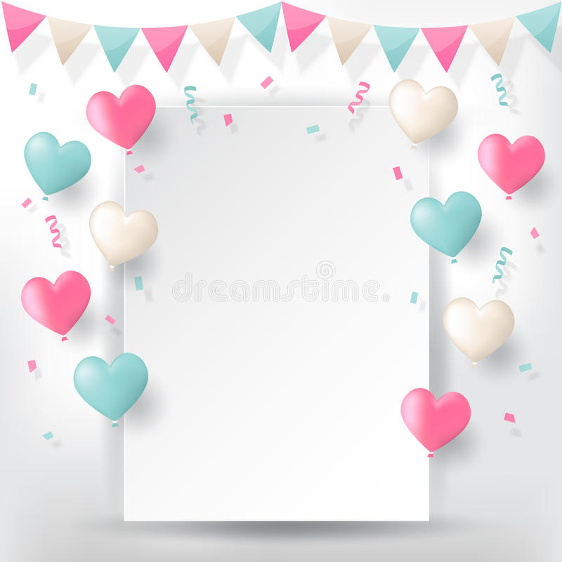 Confetti with buntings ribbons and balloons royalty free illustration