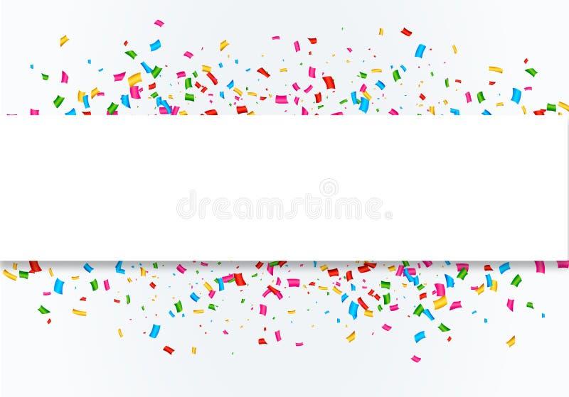 Confetti celebration frame background. Colorful celebration frame background with confetti. Vector royalty free illustration
