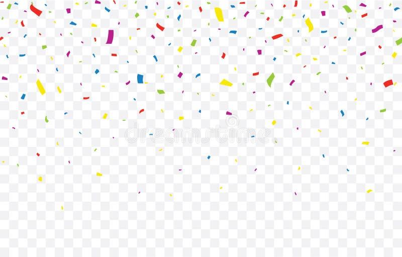 Confetti colorati su sfondo trasparente Caduta dei coriandoli - vettore di stock royalty illustrazione gratis