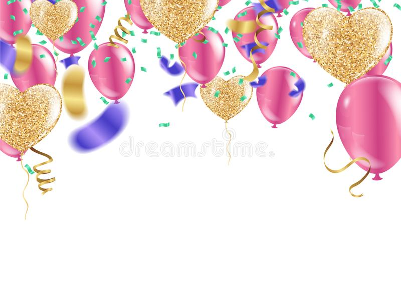 Confetti colorful balloon and flag ribbons over white tile wall, heart balloons stock illustration