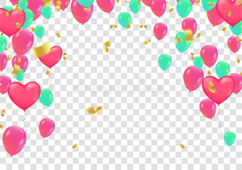 Confetti colorful balloon and flag ribbons over white tile wall, heart balloons vector illustration