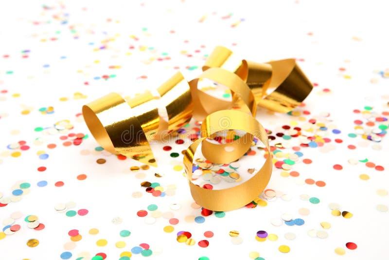 Confetti e flâmula fotografia de stock