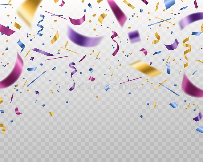 Confetti. Falling multicolored foil and paper ribbons, isolated vector template for festive christmas background and stock illustration