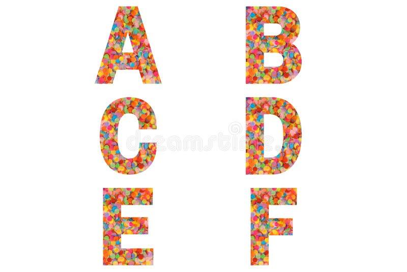 Confetti font Alphabet a, b, c, d, e, f feito de fundo confetti colorido imagem de stock royalty free