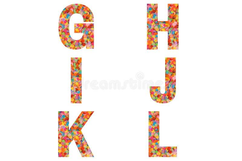 Confetti font Alphabet g, h, i, j, k, l feito de fundo confete colorido imagem de stock royalty free