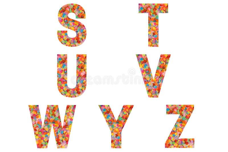 Confetti font Alphabet s, t, u, v, w, y, z feito de fundo confetti colorido imagens de stock royalty free