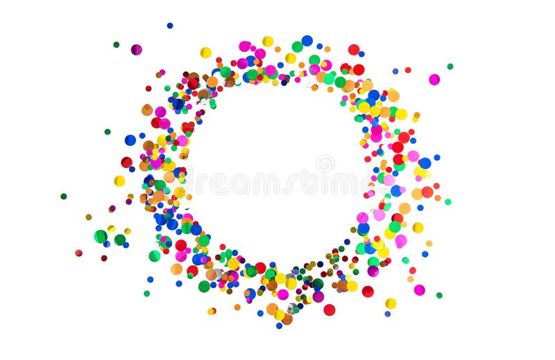 Confetti frame Birthday carnival holidays party decoration stock images