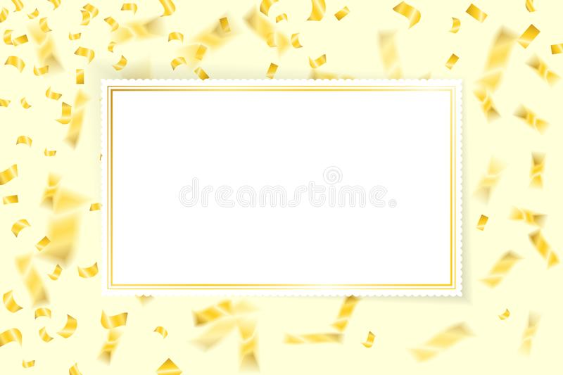 Confetti gold with white blank card vector stock illustration