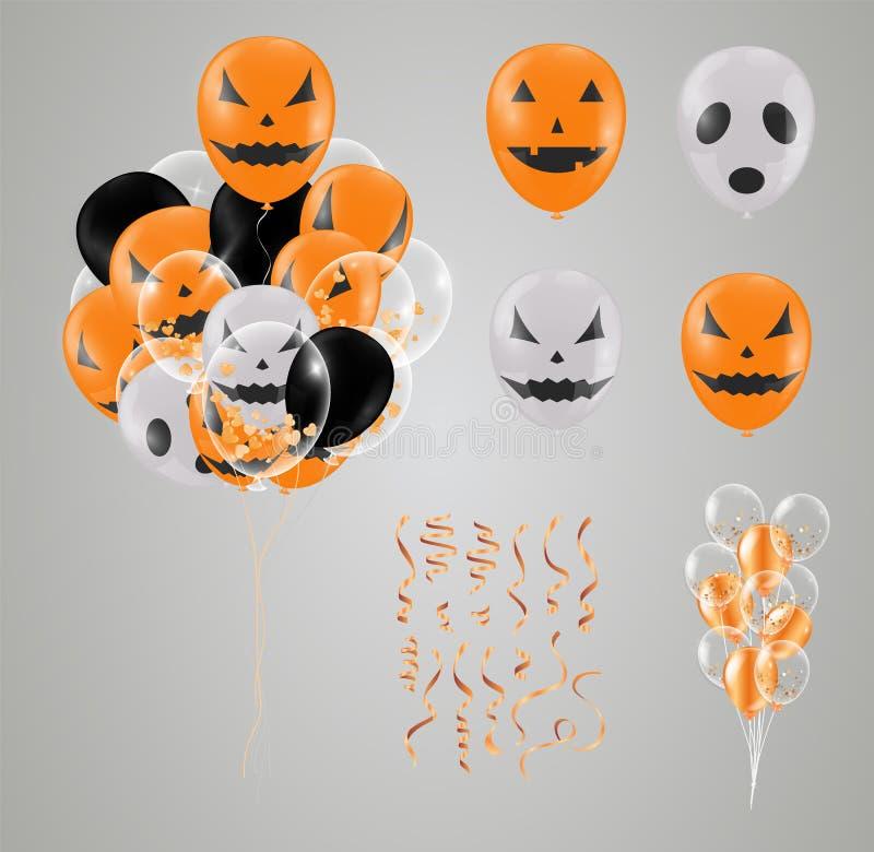 Confetti Halloween i set przejrzysty balon odizolowywający strona royalty ilustracja