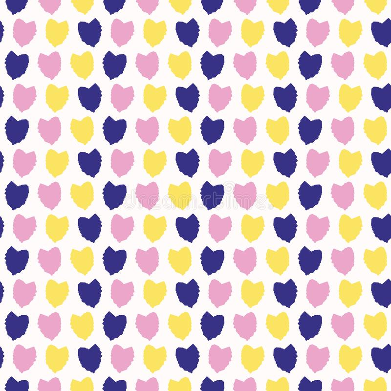 Confetti hearts falling. Vector pattern seamless background. Hand drawn textured style. Hand drawn stripes love heart illustration stock illustration