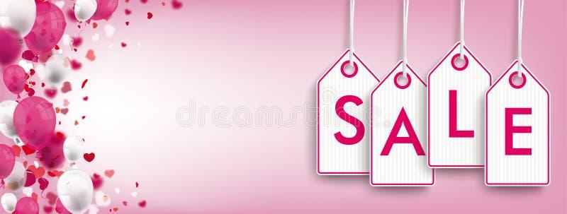 Confetti Hearts Pink Header Price Stickers Sale. Pink header with price sticker and hearts royalty free illustration