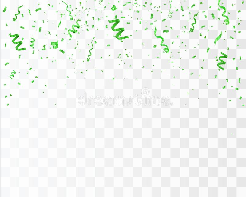 Confetti isolated on tansparent background. Vector birthday concept. Green confetti isolated on tansparent background. Ribbons and particles festive vector illustration