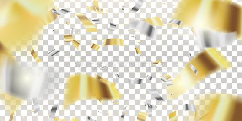 confetti klatergoud De vector Feestelijke Illustratie van Dalende Glanzende Confettien schittert Geïsoleerd op Transparante Gerui royalty-vrije illustratie