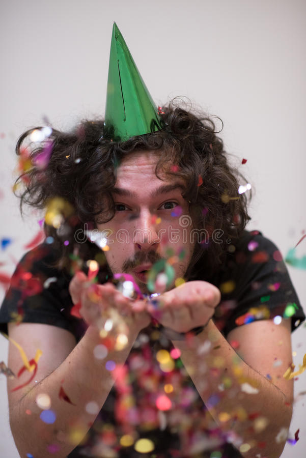 Confetti man on party stock photo