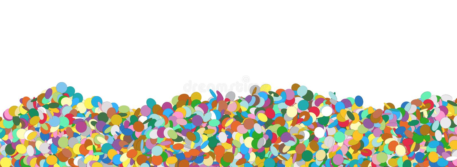 Confetti Panorama Background Template with Free Text Space royalty free illustration