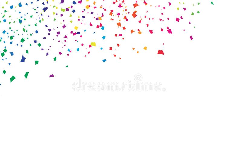 Confetti, paper falling scatter bright colorful spectrum rainbow, festival celebration party event abstract background vector royalty free illustration