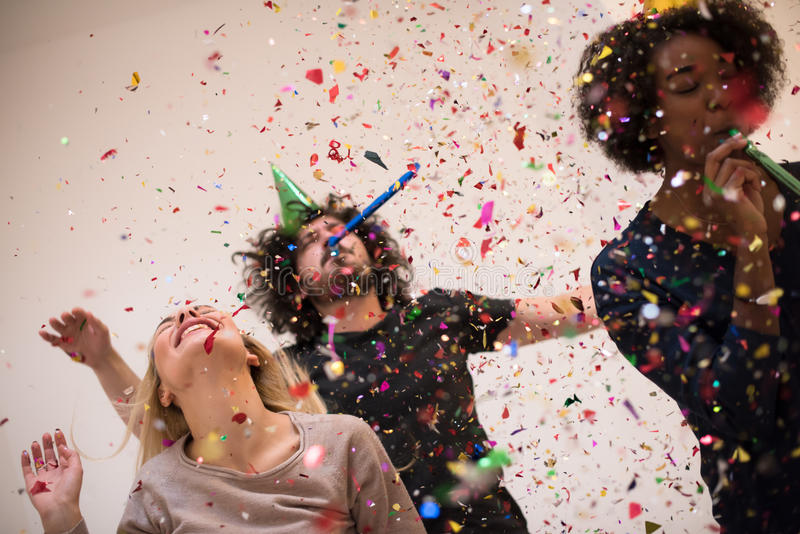 Download Confetti party stock photo. Image of friends, enjoying - 80997806
