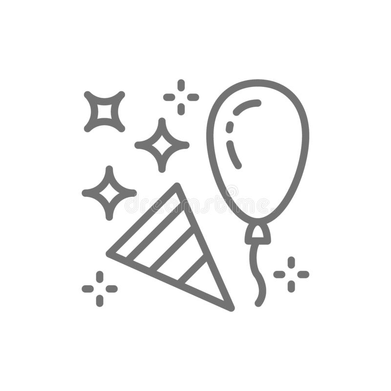 Confetti party popper with balloon line icon. royalty free illustration