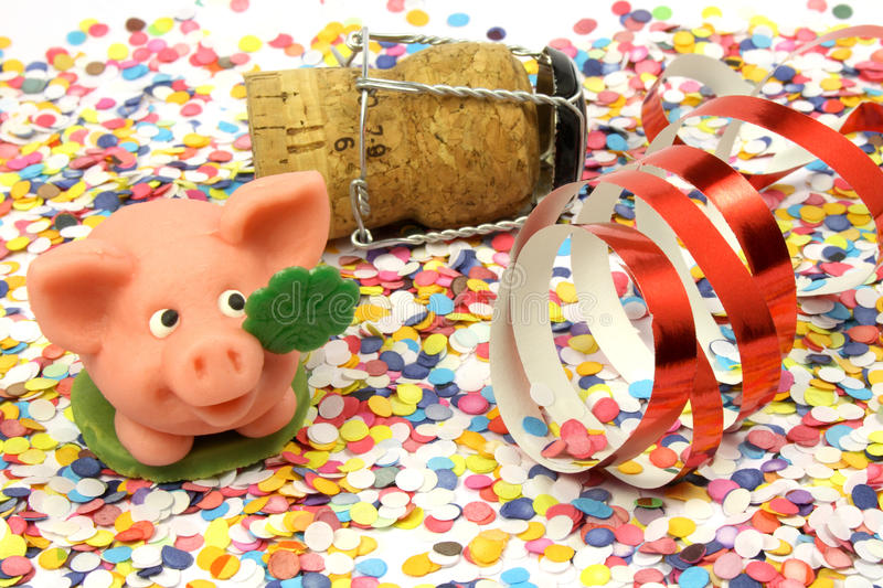 Confetti, pig, happy new year. Confetti - pig - happy new year - party atmosphere stock photo
