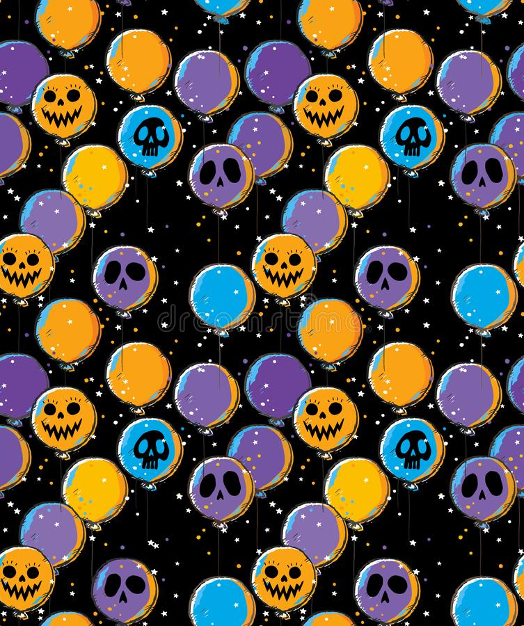 Funny Hand Drawn Halloween Vector Pattern with Scary Orange, Violet and Blue Balloons of Ghost Face. stock illustration