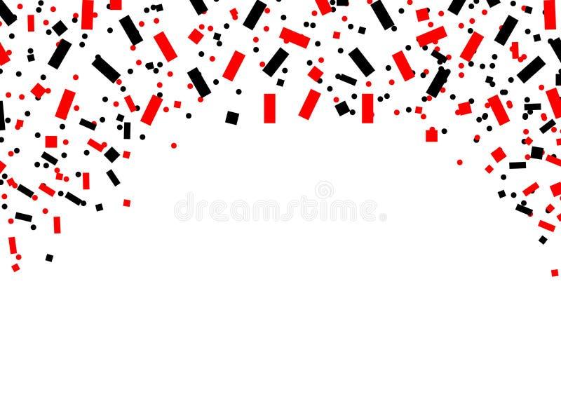 Confetti rojo y negro sobre fondo blanco, supuestamente cayendo desde arriba vectorial libre illustration