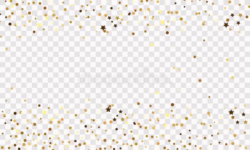 Confetti star background on transparent background, banner. Vector illustration stock illustration