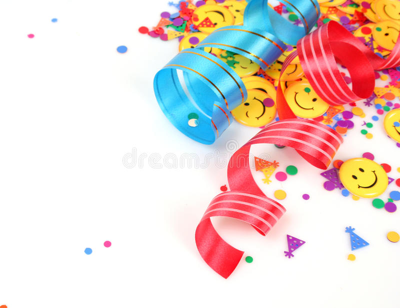 Confetti and streamer. On a white background stock images