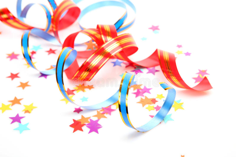 Confetti and streamer. On a white background royalty free stock images