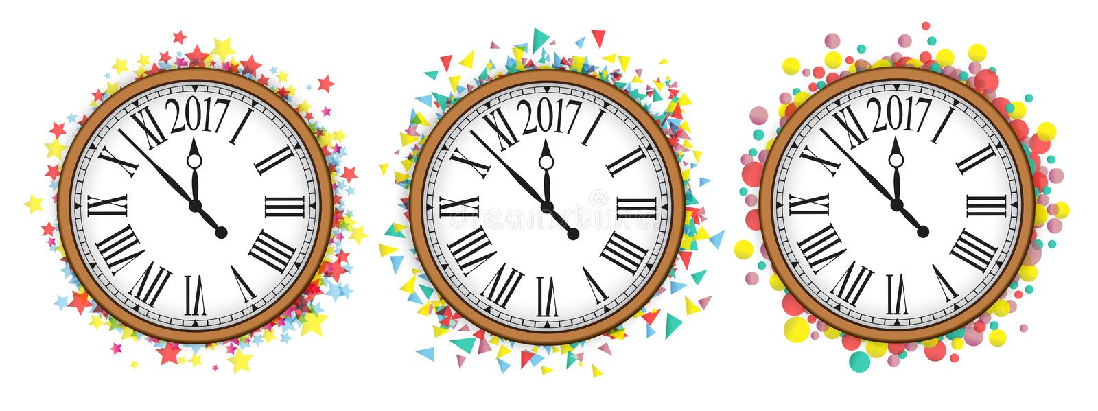Confetti with text 2017 and vintage clock vector illustration
