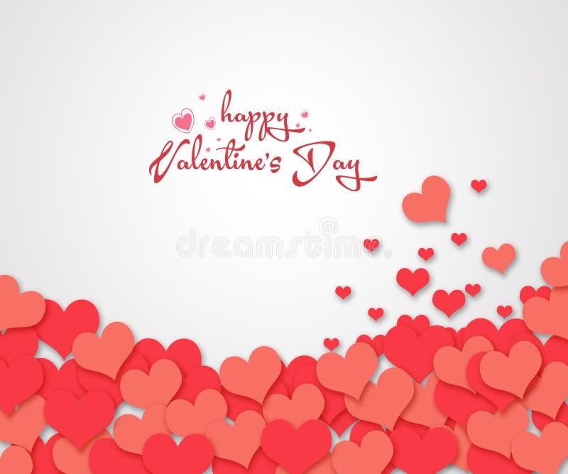 Confetti vermelho dos corações no fundo branco ilustração stock