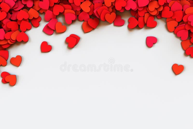 Confetti vermelho dos corações Scatter encurralou a beira no fundo branco ilustração da rendição 3d ilustração stock
