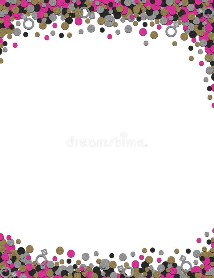 Confetti Wedding Bachelorette Frame Background Printout