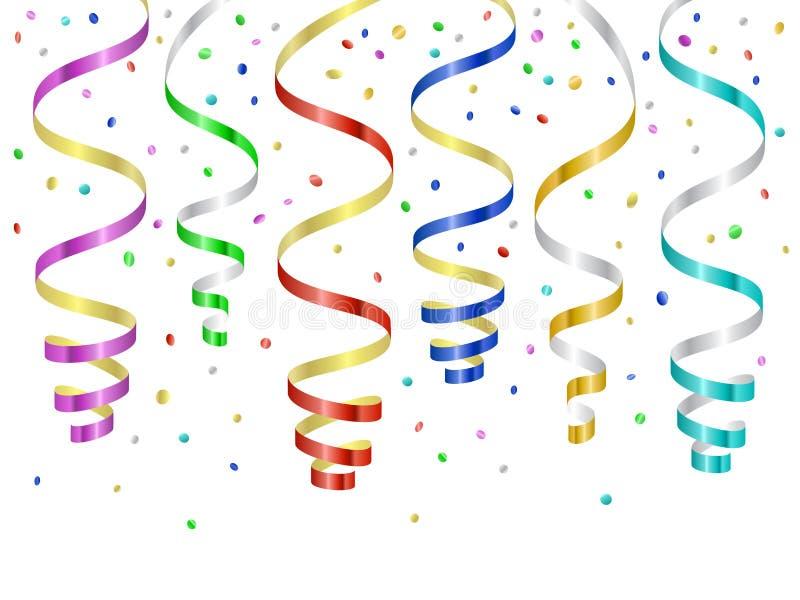 Confettien en kronkelwegen, gekrulde wimpels vector illustratie