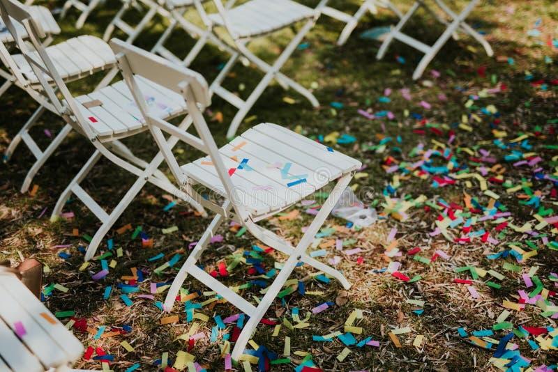 Confettien na huwelijk royalty-vrije stock foto's