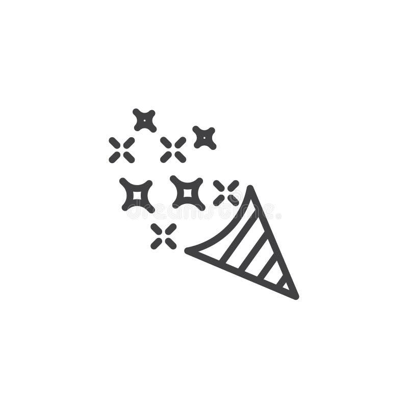 Confettienpopcornpan met het pictogram van de sterrenlijn royalty-vrije illustratie
