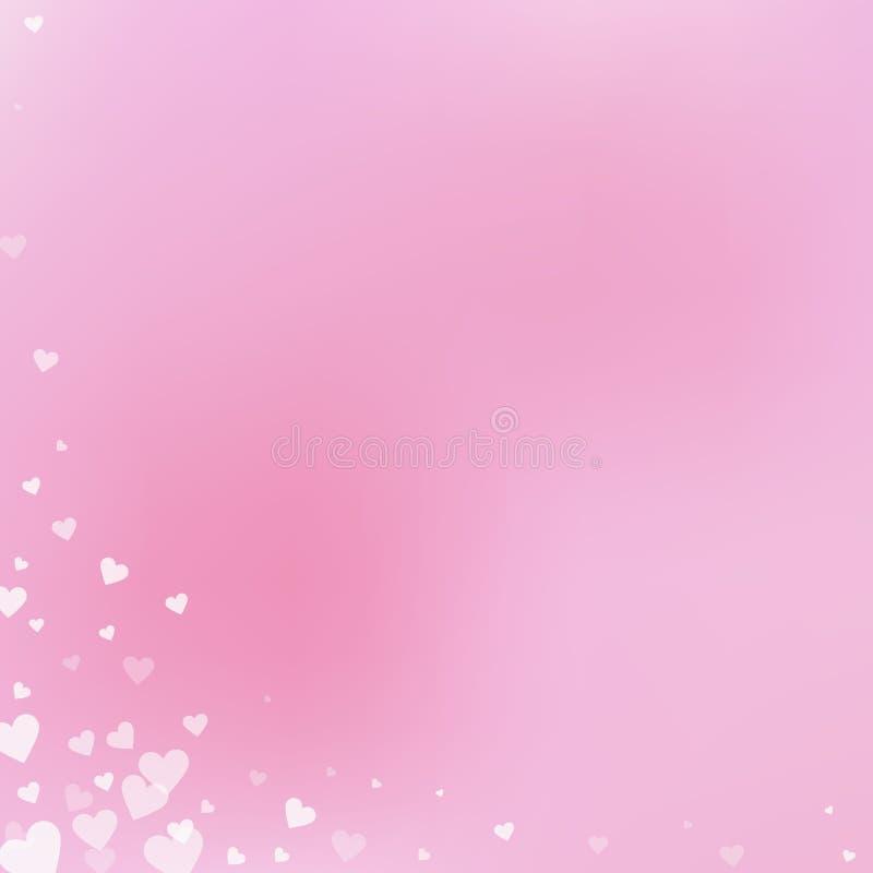 Confettis blancs d'amour de coeur Coin de Saint-Valentin illustration stock
