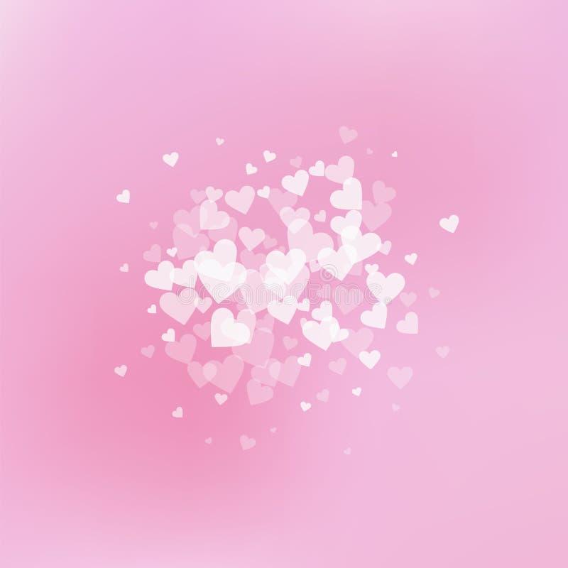 Confettis blancs d'amour de coeur Explos de Saint-Valentin illustration stock