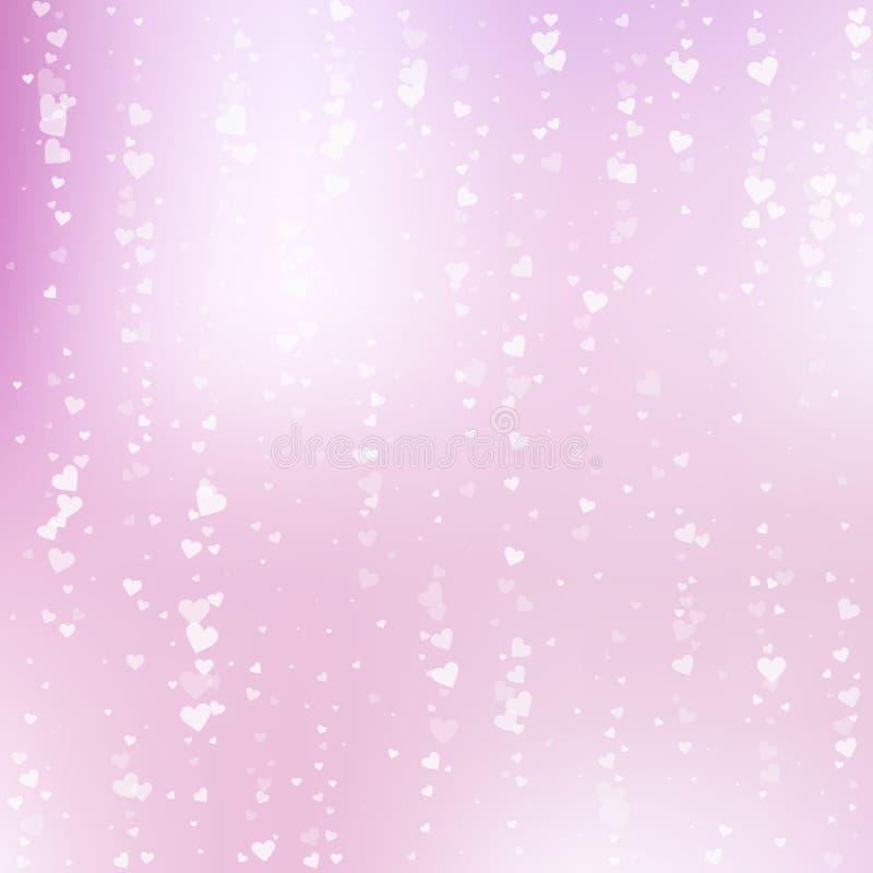 Confettis blancs d'amour de coeur Fallin de Saint-Valentin illustration stock