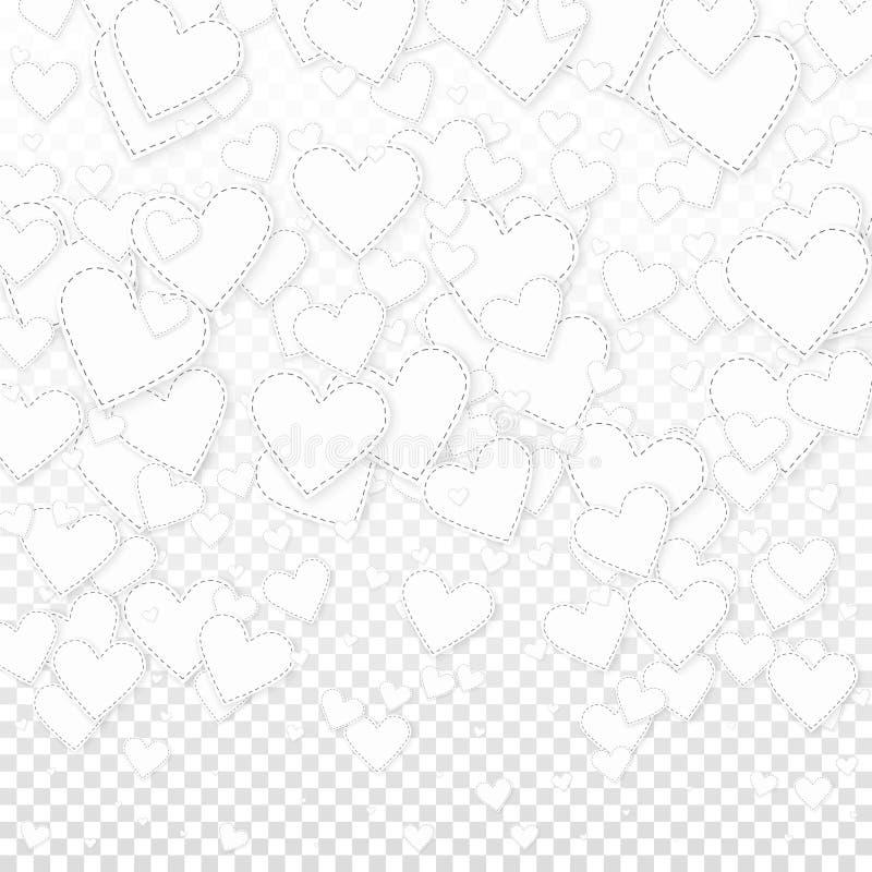 Confettis blancs d'amour de coeur Gradie de Saint-Valentin illustration stock