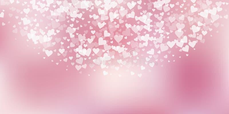 Confettis blancs d'amour de coeur Semici de Saint-Valentin illustration stock
