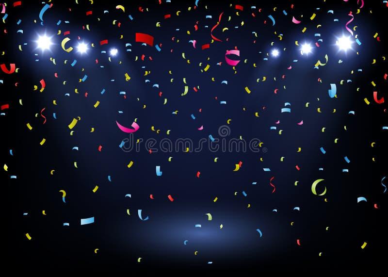 Confettis colorés sur le fond noir avec le projecteur illustration libre de droits