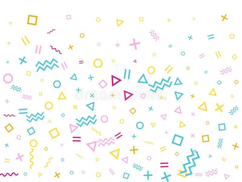 Confettis cyan roses de partie d'or de bauhaus simple du style 80s volant sur le blanc illustration libre de droits