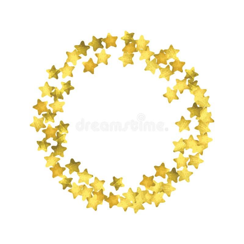 Confettis d'étoile Fond aléatoire de confettis d'or illustration libre de droits