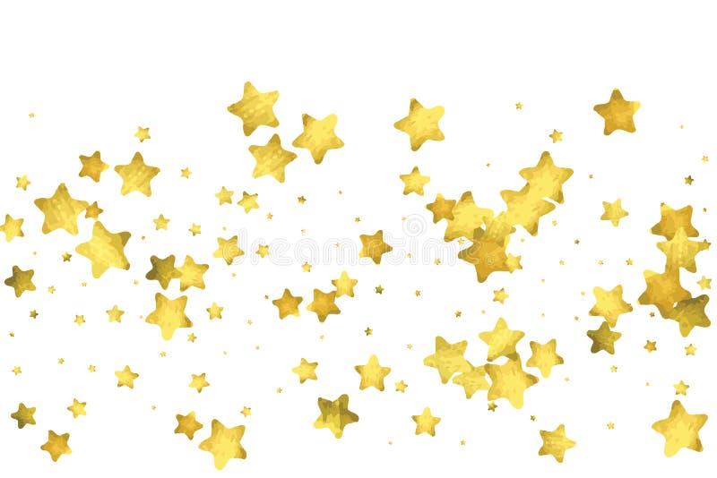 Confettis d'étoile Fond aléatoire de confettis d'or illustration stock