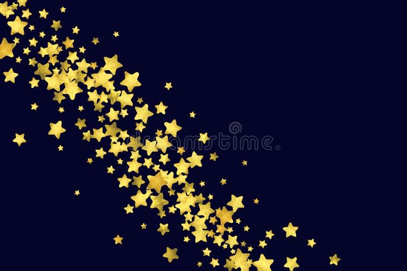 Confettis d'étoile d'isolement sur le fond noir illustration de vecteur