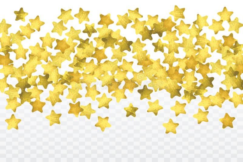 Confettis d'étoile d'isolement sur le fond transparent illustration libre de droits